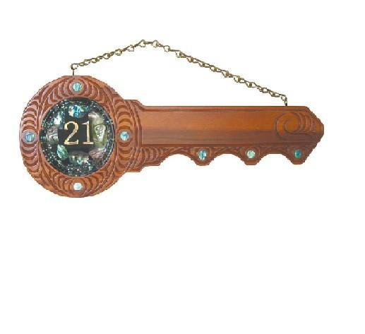 21st Carved Key, Paua Disc (#422)