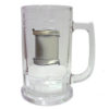 Glass Beer Mug with Pewter Badge
