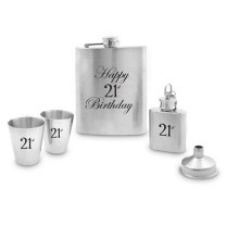 Hip Flask Set: 21st Birthday