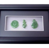 Framed Jade Koru, Twist, Hook, Pendants