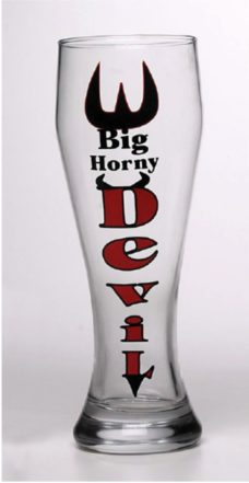 Tall Boy Beer Glass: Big Horny Devil