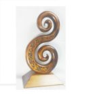 Carved Kauri Double Koru on Base