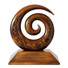 Carved Kauri Koru on Base