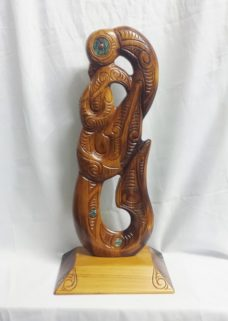 Carved Kauri Hei Matau (Fish Hook) Lg