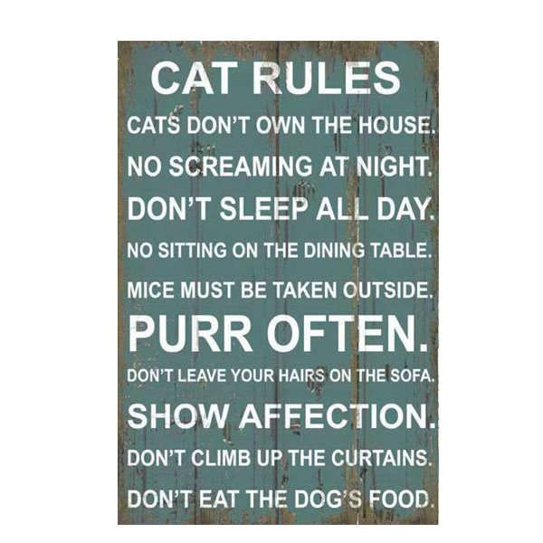 Cat Rules Wall Plaque