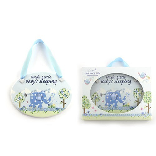 Blue Elephant Baby Plaque
