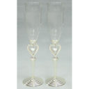 Champagne Glass Set - Floating Hearts