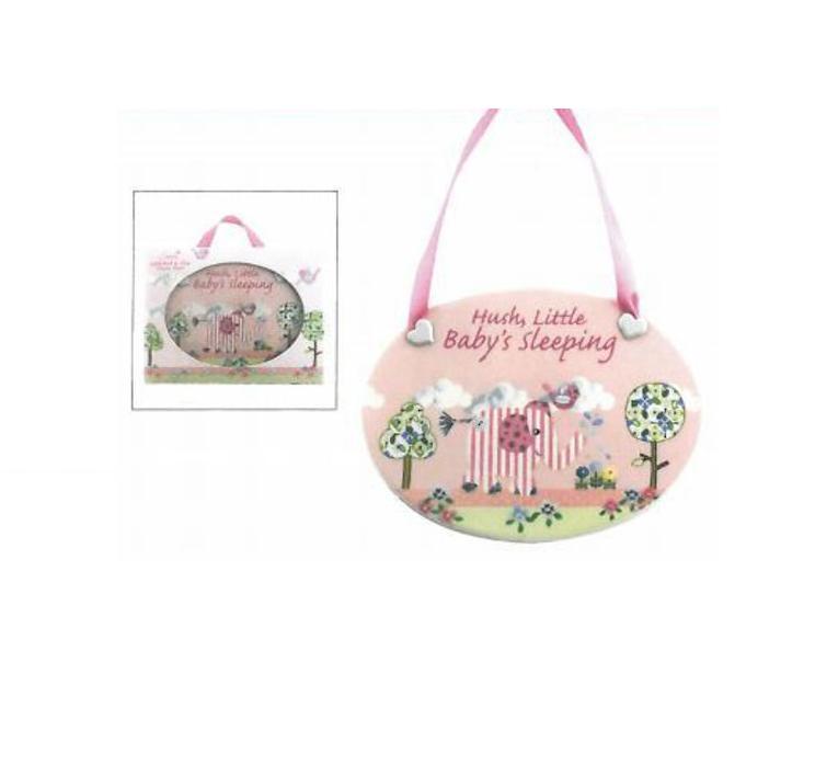 Pink Elephant Baby Plaque