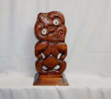 Carved Kauri Tiki on Base
