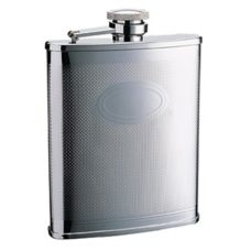 Hip Flask: Etched Design Oval