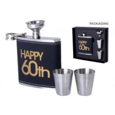 Hip Flask Gift Set 60th