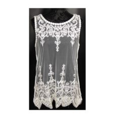 Giupure White Lace Top Flowers (Medium)