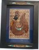 Black Glass Framed Box with Paua and Hook