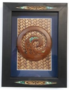 Black Glass Framed Box with Paua and Koru