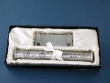 'Christening Day' Certificate Holder on Stand (Pewter)