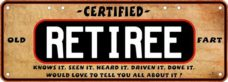 Novelty Plate - Certified Retiree
