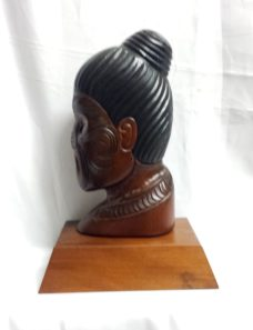 Maori Design Carved Kauri Warrior Profile on a Stand