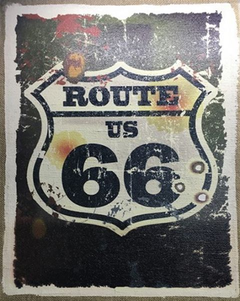 Wall Art Hessian Route 66