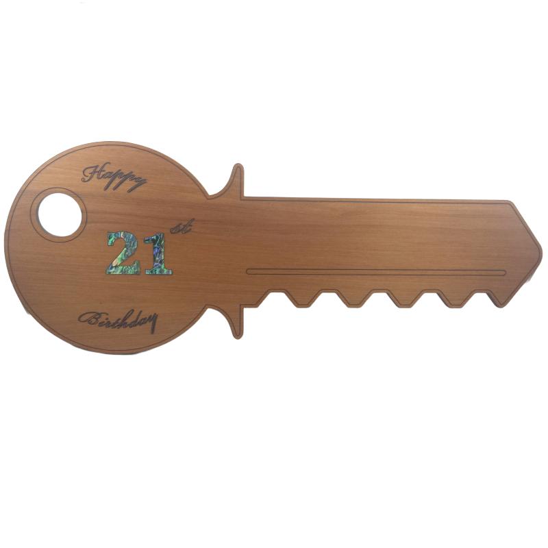 21st Happy Birthday Key (Rimu - Horizontal)