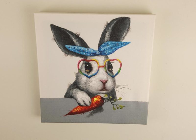 Canvas: Rabbit with a Carrot