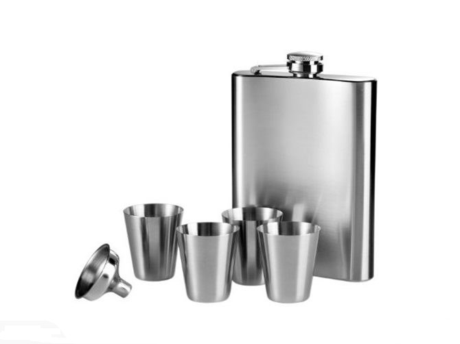 Stainless Steel Hip Flask Set: Plain (6pc Set)