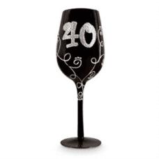 40 Black Diamante Wine Glass
