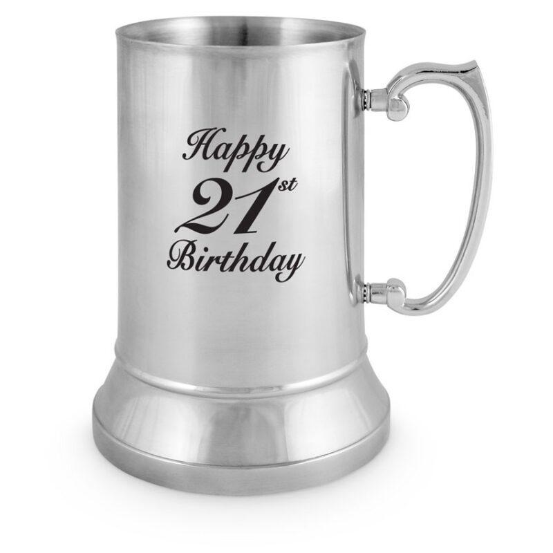 Stainless Steel Tankard 21st Birthday (18oz)