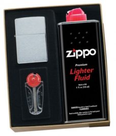 Zippo Gift Set (Brushed Chrome)