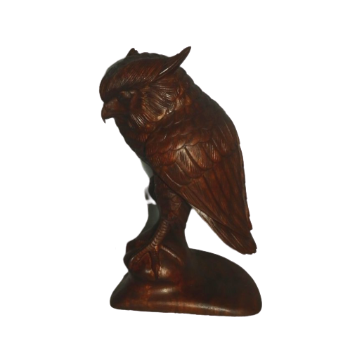 Carved Wooden Owl on Perch