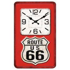 Route 66 Glass Wall Clock