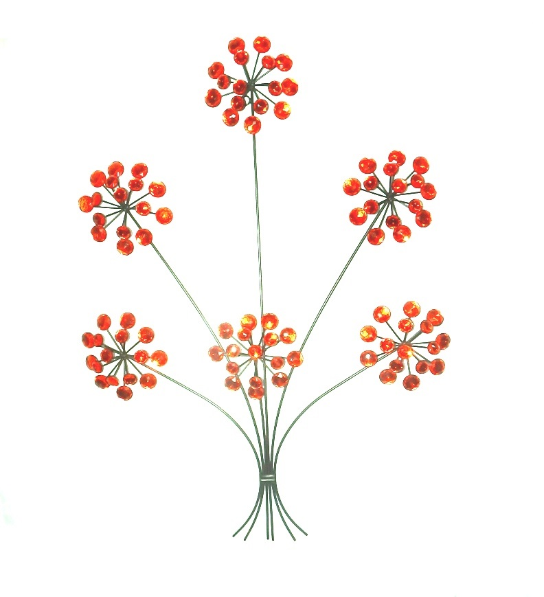 Wall Art Metal Flowers with Red Acrylic Gems