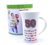 '50' Birthday Coffee Mug with Biscuit Tin