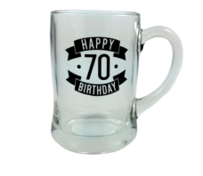 Happy 70 Birthday Glass Beer Mug (450ml)