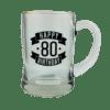 Happy 80 Birthday Glass Beer Mug (450ml)