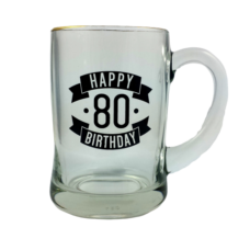 Happy 80 Birthday Glass Beer Mug (450ml)