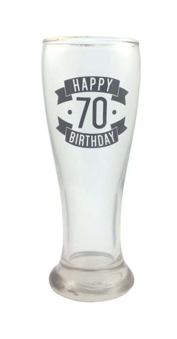 Happy 70th Birthday Tall Glass (425ml)