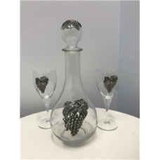 Grape Motif Decanter & Wine Glass Set (3pc)