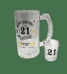 Stein & Shot Glass Gift Set (Happy 21st Birthday)