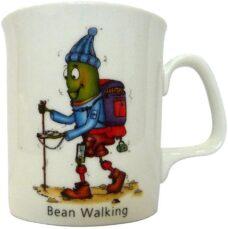 Fine Bone China Coffee Mug: Bean Walking