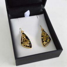 Gold Flake Triangle Earrings Set