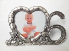 6th Birthday Heart Photo Frame (Pewter)