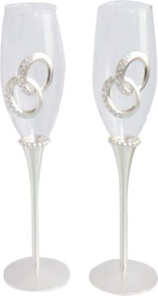 Champagne Flute Glass Set – Floating Rings