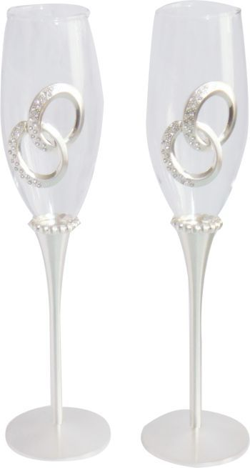 Champagne Flute Glass Set - Floating Rings