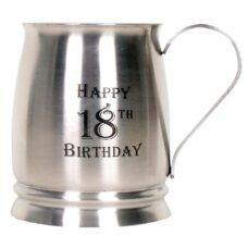 Stainless Steel Matte Finish Tankard 18th Birthday (18oz)