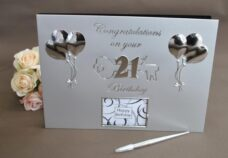 21st Birthday Guest Book (Silver Balloons)