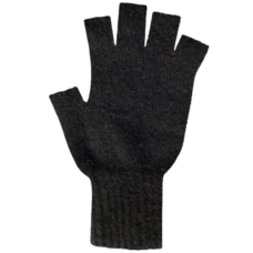 Possum Merino Gloves: Black (Fingerless)