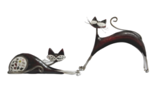 Red Metal Cat Ornaments (Set of 2)