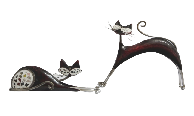 Red Metal Cats (Set of 2)