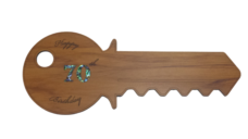 Happy 70th Birthday Key (Rimu – Horizontal)