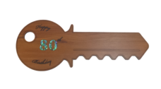Happy 80th Birthday Key (Rimu – Horizontal)